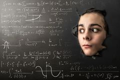 Ragazzino terrorizzato da matematica immagine stock libera da diritti