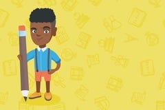 Ragazzo africano del bambino che sta con una matita enorme royalty illustrazione gratis
