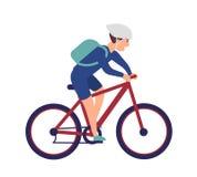 Ragazzo allegro in bici di guida del casco Sportivo sorridente sulla bicicletta isolata su fondo bianco Ciclista maschio felice illustrazione vettoriale
