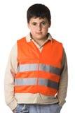Ragazzo in alta maglia di visibilità Fotografia Stock Libera da Diritti