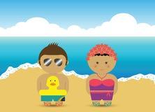 Ragazzo & ragazza alla spiaggia Royalty Illustrazione gratis