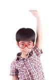 Ragazzo asiatico che cresce alto e che si misura Fotografia Stock Libera da Diritti