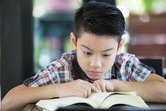 Ragazzo asiatico che legge un libro Immagini Stock