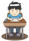 Ragazzo asiatico che si siede ad uno scrittorio della scuola illustrazione vettoriale