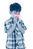 Ragazzo asiatico che usando tessuto per pulire moccolo Bambino con il sintomo di allergia Immagini Stock Libere da Diritti