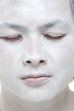 Ragazzo asiatico di trucco bianco con differenti espressioni Immagine Stock