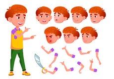 Ragazzo, bambino, bambino, vettore teenager Sorriso cute Godimento di felicità Emozioni del fronte, vari gesti Testa rossa animaz illustrazione di stock