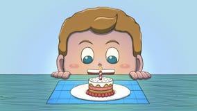 Ragazzo bianco che esamina Mini Birthday Cake Fotografia Stock Libera da Diritti