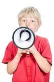 Ragazzo biondo con il megafono Fotografia Stock Libera da Diritti