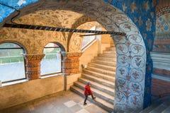 Ragazzo che cammina al corridoio interno upstair della cattedrale del ` s del basilico del san Fotografia Stock Libera da Diritti