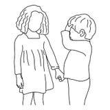 Ragazzo che dice a sua sorella più anziana che ha ottenuto un vettore di emicrania illustrazione vettoriale