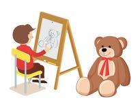 Ragazzo che disegna Teddy Bear Poster Vector Illustration Fotografie Stock Libere da Diritti