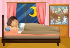 Ragazzo che dorme nella sua camera da letto Fotografia Stock Libera da Diritti