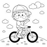 Ragazzo che guida una bicicletta al parco Pagina in bianco e nero del libro da colorare illustrazione vettoriale