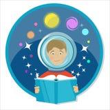 Ragazzo che legge un libro La fantascienza, fantascienza Fotografia Stock