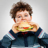 Ragazzo che mangia grande panino Immagini Stock