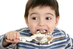 Ragazzo che mangia il grafico a torta dell'opossum Immagine Stock Libera da Diritti