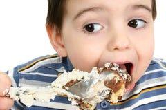 Ragazzo che mangia il grafico a torta dell'opossum immagini stock libere da diritti