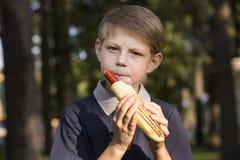 Ragazzo che mangia un hot dog Fotografie Stock Libere da Diritti