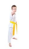 Ragazzo che porta l'uniforme del taekwondo Fotografia Stock