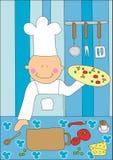 Ragazzo che produce pizza Fotografia Stock