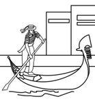 Ragazzo che rema una pagina di coloritura della barca illustrazione vettoriale