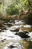 Ragazzo che si trova sul tronco di albero tramite la corrente Fotografie Stock