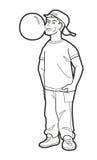 Ragazzo che soffia la gomma da masticare come palla Illustrazione nera di vettore su fondo bianco Fotografia Stock Libera da Diritti