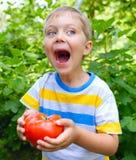 Ragazzo che tiene un pomodoro Fotografia Stock