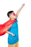 Ragazzo cinese asiatico che porta il costume dell'eroe eccellente Fotografia Stock