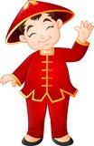 Ragazzo cinese del fumetto che porta costume tradizionale royalty illustrazione gratis