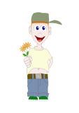 Ragazzo con i fiori immagini stock libere da diritti