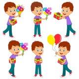 Ragazzo con i fiori e le collezioni del regalo illustrazione di stock