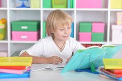 Ragazzo con i vetri ed i libri che fanno le lezioni Immagine Stock