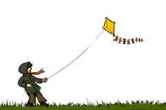 Ragazzo con il cervo volante Royalty Illustrazione gratis