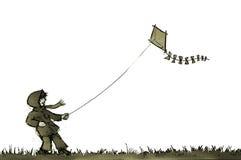 Ragazzo con il cervo volante Fotografia Stock Libera da Diritti