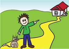 Ragazzo con il gatto. Immagini Stock Libere da Diritti