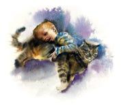 Ragazzo con il gatto playful Illustrazione dipinta a mano dell'acquerello royalty illustrazione gratis