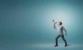 Ragazzo con il megafono Fotografie Stock