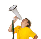 Ragazzo con il megafono su bianco Immagini Stock Libere da Diritti