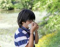 Ragazzo con l'allergia del polline con il fazzoletto a disposizione Fotografie Stock Libere da Diritti