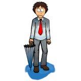 Ragazzo con l'illustrazione dell'ombrello Immagine Stock