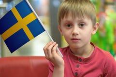 Ragazzo con la bandiera della Svezia Fotografia Stock Libera da Diritti