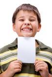 Ragazzo con la scheda in bianco 3 Fotografie Stock