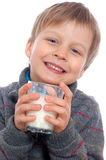 Ragazzo con latte Fotografia Stock Libera da Diritti