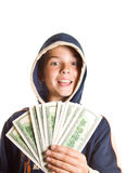 Ragazzo con soldi Fotografie Stock