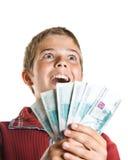Ragazzo con soldi Fotografia Stock Libera da Diritti