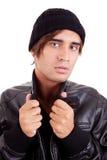 Ragazzo con un cappuccio nero Fotografie Stock