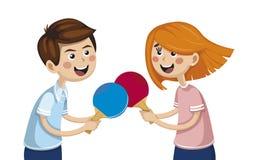 Ragazzo con una ragazza che gioca ping-pong atleti della concorrenza illustrazione vettoriale