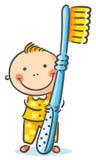 Ragazzo con uno spazzolino da denti gigante illustrazione vettoriale